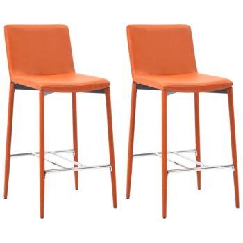 vidaXL Barstoelen 2 st kunstleer oranje