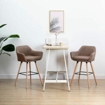 vidaXL Barstoelen met armleuningen 2 st stof taupe