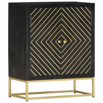 vidaXL Dressoir 60x30x75 cm massief mangohout zwart en goudkleurig
