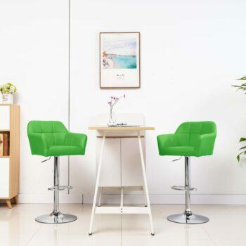 vidaXL Barstoelen 2 st met armleuning kunstleer groen