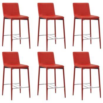 vidaXL Barstoelen 6 st kunstleer rood