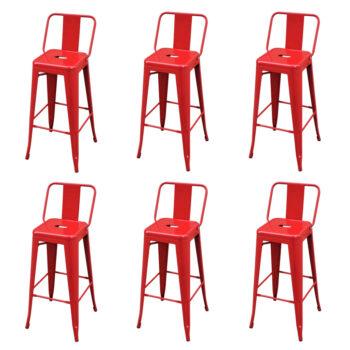 vidaXL Barkrukken 6 st staal rood