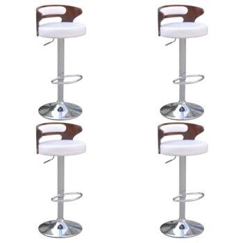 vidaXL Barkrukken 4 st met gebogen houten frame kunstleer wit