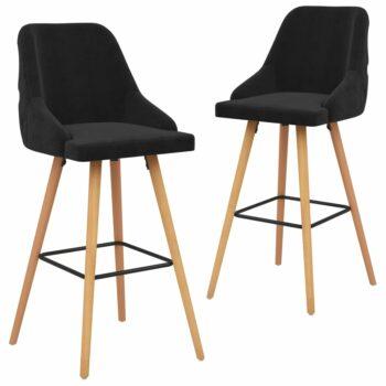 vidaXL Barstoelen 2 st fluweel zwart