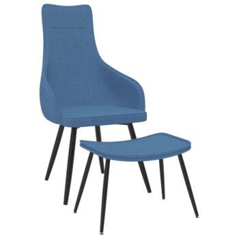 vidaXL Fauteuil met voetenbank stof blauw