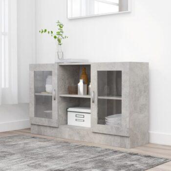 vidaXL Vitrinekast 120×30,5×70 cm spaanplaat betongrijs