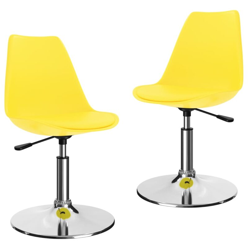 vidaXL Eetkamerstoelen draaibaar 2 st kunstleer geel
