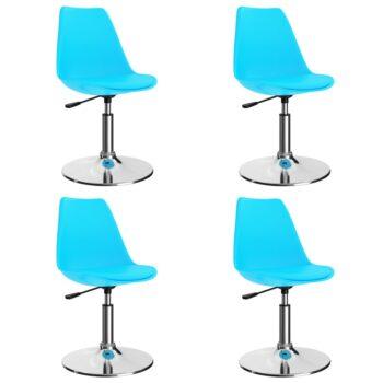 vidaXL Eetkamerstoelen draaibaar 4 st kunstleer blauw