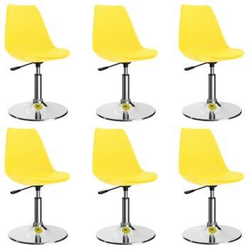 vidaXL Eetkamerstoelen draaibaar 6 st kunstleer geel