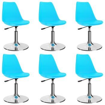 vidaXL Eetkamerstoelen draaibaar 6 st kunstleer blauw