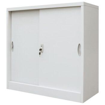 vidaXL Kantoorkast met schuifdeuren 90x40x90 cm metaal grijs