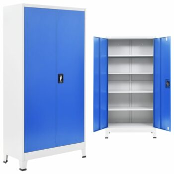vidaXL Kantoorkast 90x40x180 cm metaal grijs en blauw