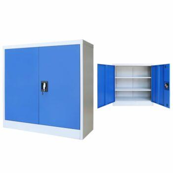 vidaXL Kantoorkast 90x40x90 cm metaal grijs en blauw